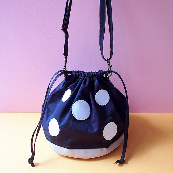 Crossbody Drawstring Bucket Sling Bag - Magic Mushroom (Black)