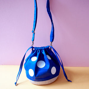 Crossbody Drawstring Bucket Sling Bag - Magic Mushroom (Royal Blue)
