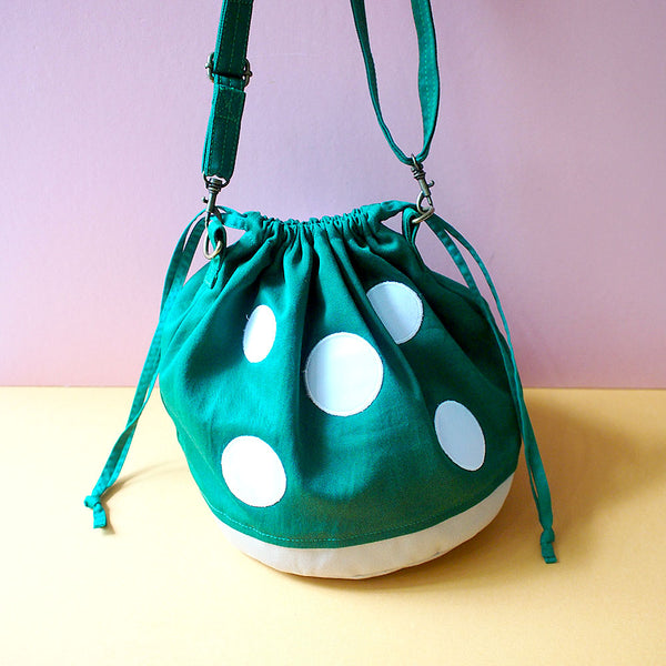 Crossbody Drawstring Bucket Sling Bag - Magic Mushroom (Emerald Green)