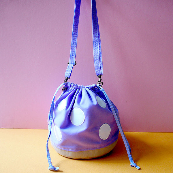 Crossbody Drawstring Bucket Sling Bag - Magic Mushroom (Violet)