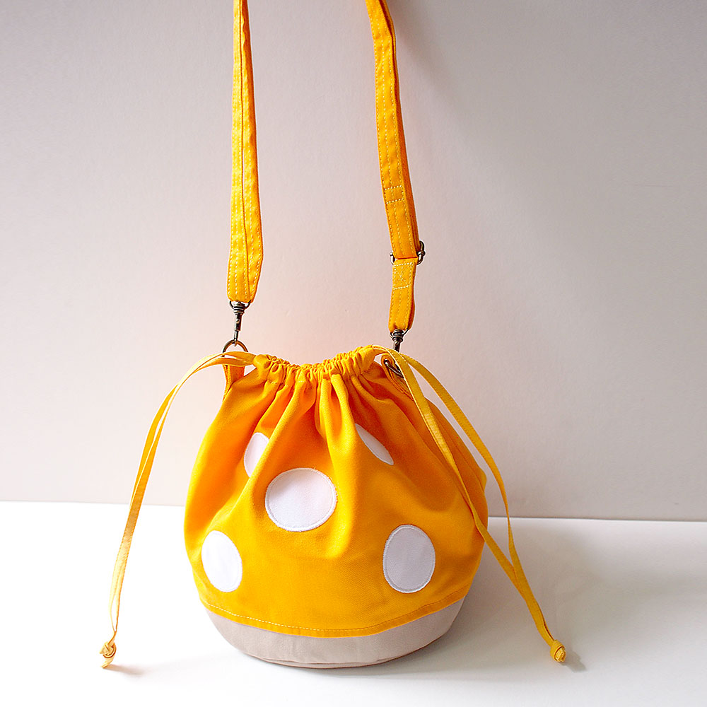 Crossbody Drawstring Bucket Sling Bag - Magic Mushroom (Honey Yellow)