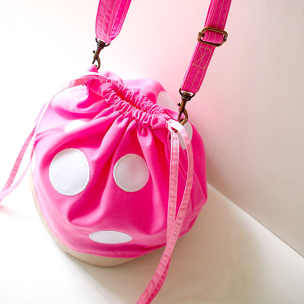 Crossbody Drawstring Bucket Sling Bag - Magic Mushroom (Pink)