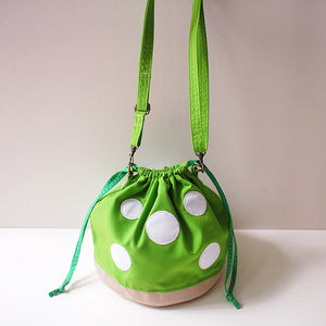 Crossbody Drawstring Bucket Sling Bag - Magic Mushroom (Apple Green)