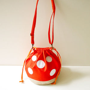 Crossbody Drawstring Bucket Sling Bag - Magic Mushroom (Orange)