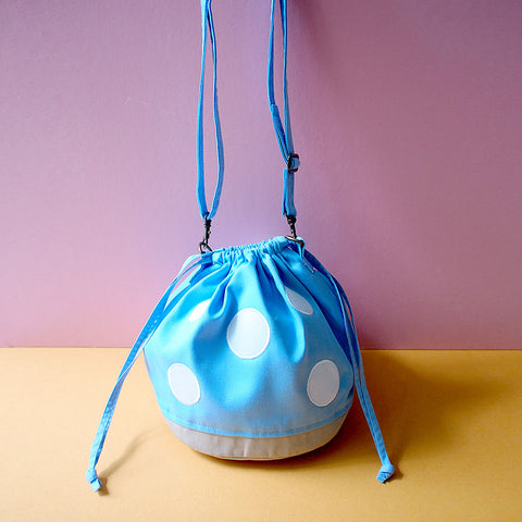 Crossbody Drawstring Bucket Sling Bag - Magic Mushroom (Light Blue)