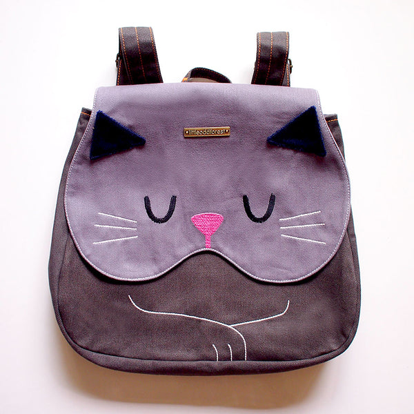 Backpack - Forest Kitty Cat (Gray)