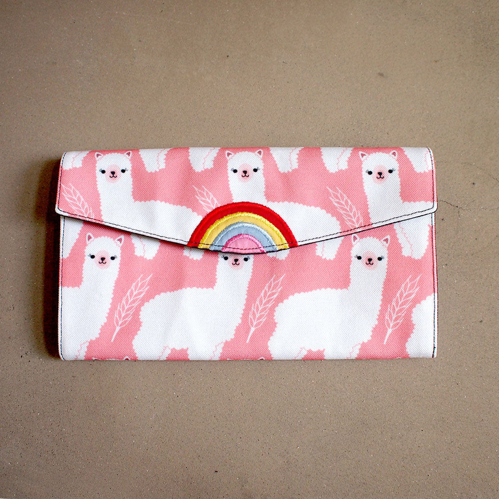 Long Wallet - Over The Rainbow (White Alpacas Pink) LOF Original Print