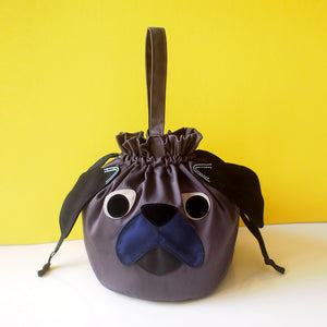 Drawstring Handcarry Bucket Purse - Pudgy Pug (Black)