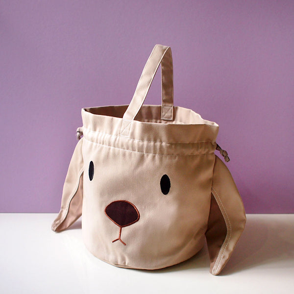 Drawstring Handcarry Bucket Purse - Chubby Bunny (Beige)