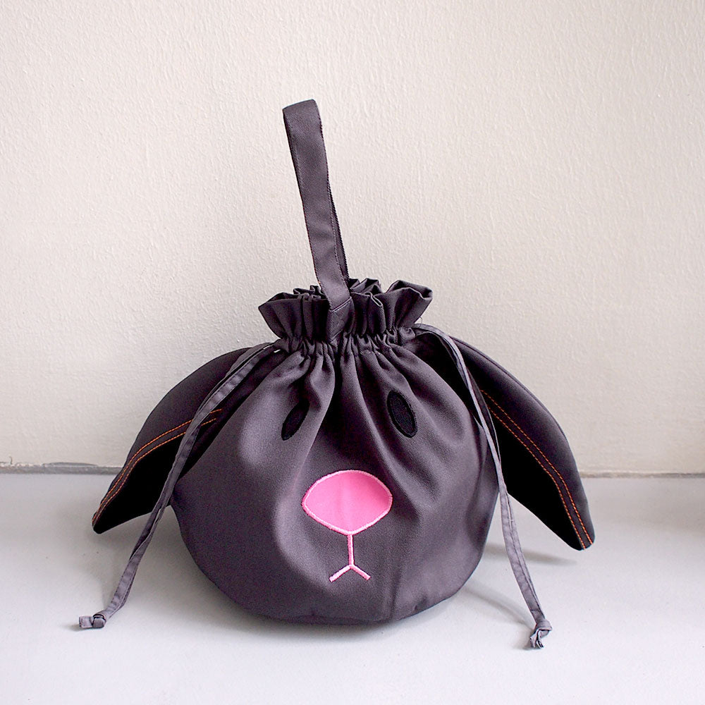 Drawstring Handcarry Bucket Purse - Chubby Bunny (Gray)