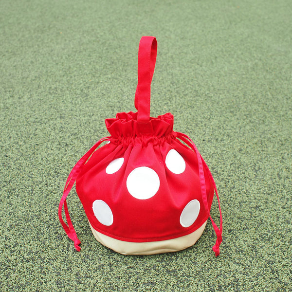 Drawstring Handcarry Bucket Purse - Magic Mushroom (Red)
