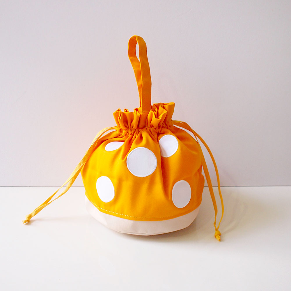 Drawstring Handcarry Bucket Purse - Magic Mushroom (Honey Yellow)