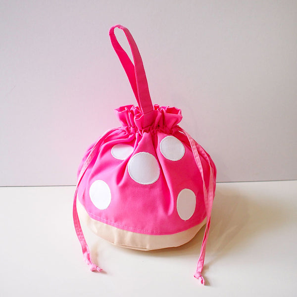 Drawstring Handcarry Bucket Purse - Magic Mushroom (Pink)