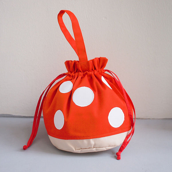Drawstring Handcarry Bucket Purse - Magic Mushroom (Orange)