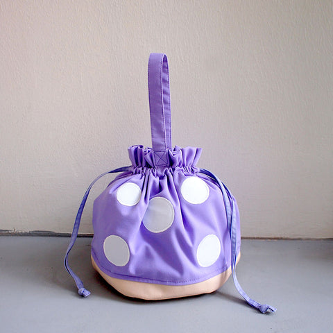 Drawstring Handcarry Bucket Purse - Magic Mushroom (Violet)