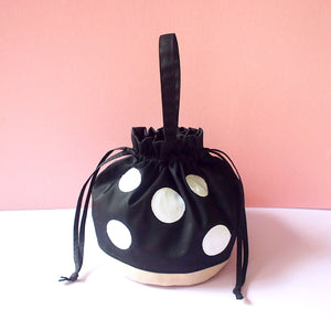 Drawstring Handcarry Bucket Purse - Magic Mushroom (Black)