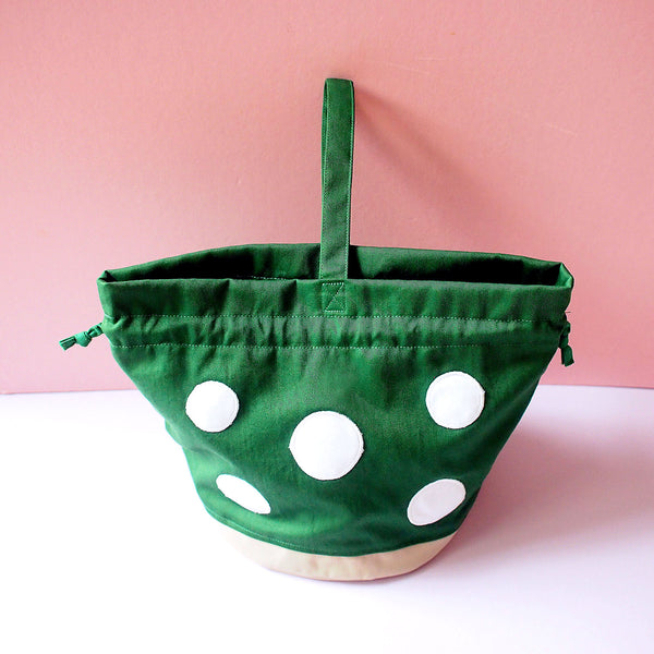 Drawstring Handcarry Bucket Purse - Magic Mushroom (Emerald Green)