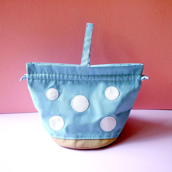Drawstring Handcarry Bucket Purse - Magic Mushroom (Light Blue)