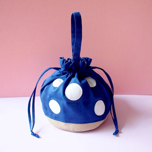 Drawstring Handcarry Bucket Purse - Magic Mushroom (Royal Blue)