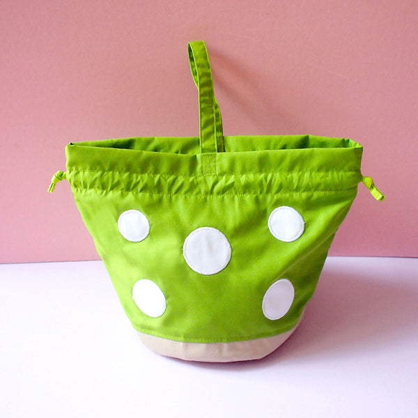 Drawstring Handcarry Bucket Purse - Magic Mushroom (Apple Green)