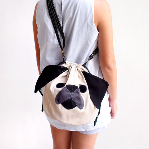 Crossbody Drawstring Bucket Sling Bag - Pudgy Pug (Cream Beige)