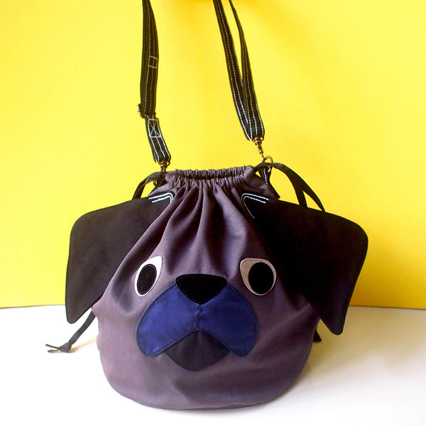Crossbody Drawstring Bucket Sling Bag - Pudgy Pug (Black)