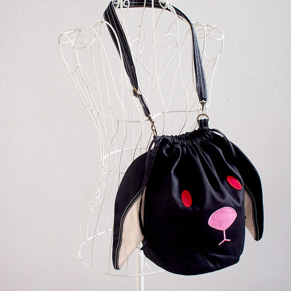 Crossbody Drawstring Bucket Sling Bag - Chubby Bunny (Black)