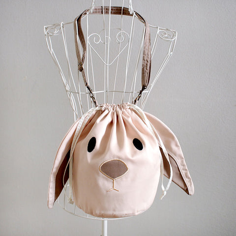 Crossbody Drawstring Bucket Sling Bag - Chubby Bunny (Cream)