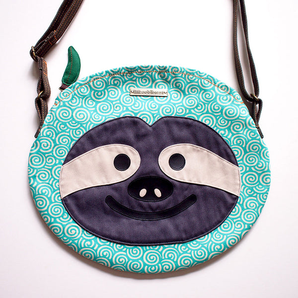 Crossbody Sling Bag - Slothful Sloth (Green Japanese Swirls)
