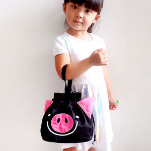Drawstring Handcarry Bucket Purse - Oink Oink Pig (Black)