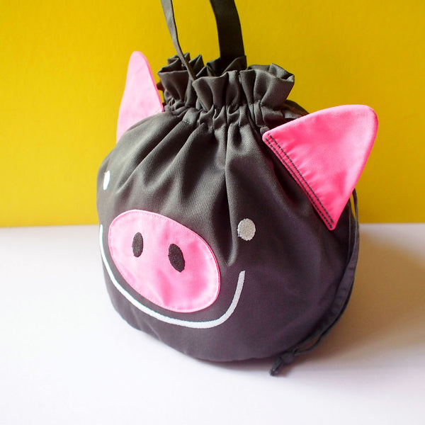 Drawstring Handcarry Bucket Purse - Oink Oink Pig (Gray)