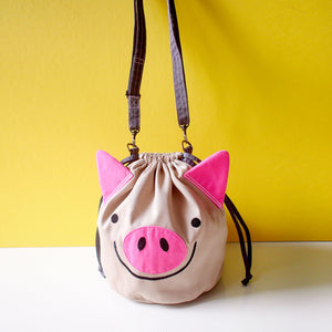 Crossbody Drawstring Bucket Sling Bag - Oink Oink Pig (Beige)