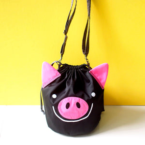 Crossbody Drawstring Bucket Sling Bag - Oink Oink Pig (Black)