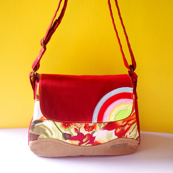 Crossbody Bag - Over The Rainbow (Burgundy Watercolour Blooms)