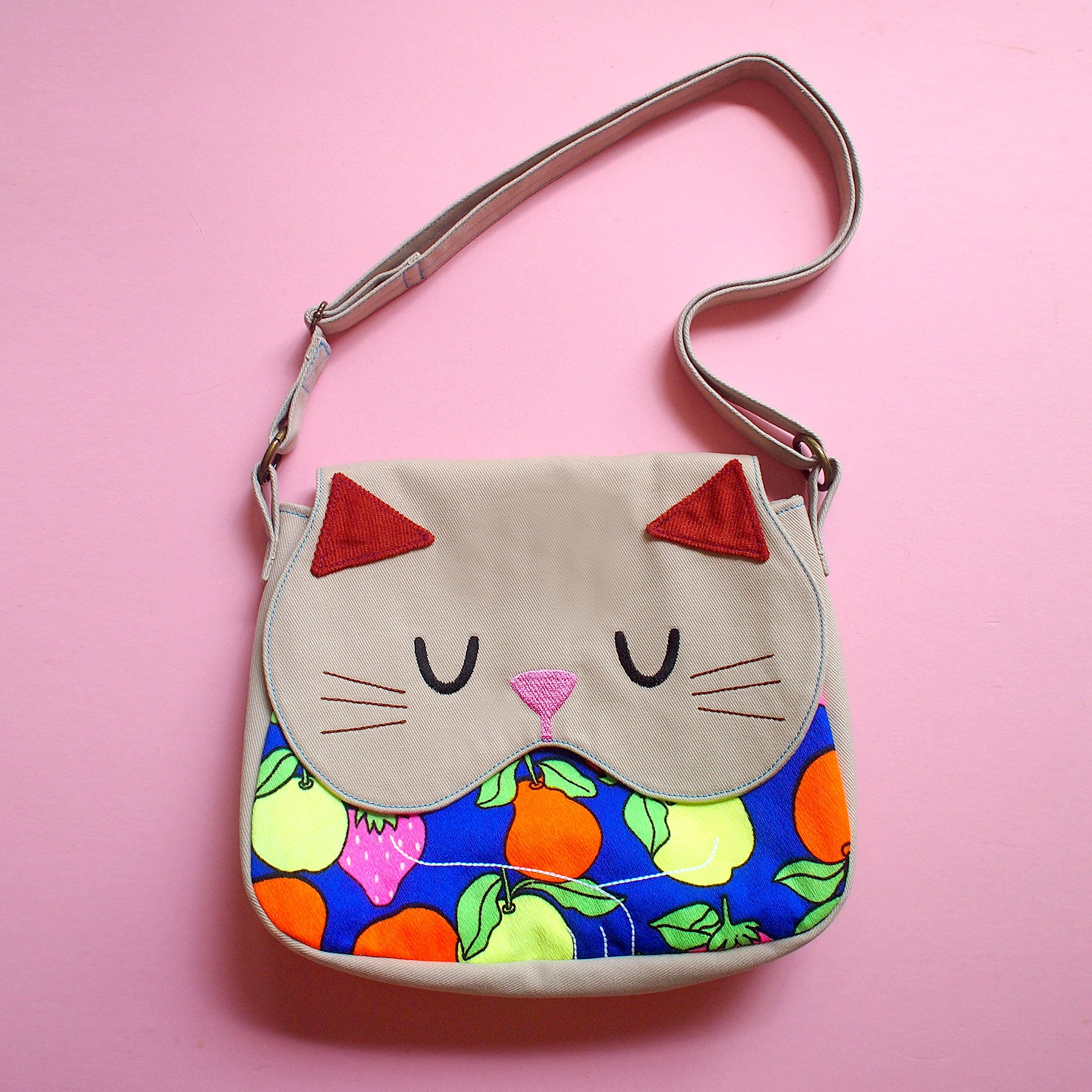 Crossbody Sling Bag - Forest Kitty Cat (Vintage Neon Fruits)