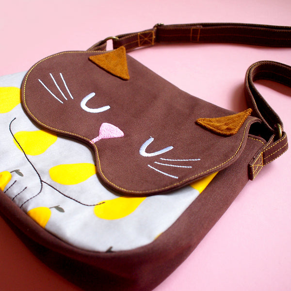 Crossbody Sling Bag - Forest Kitty Cat (Sunny Pears)