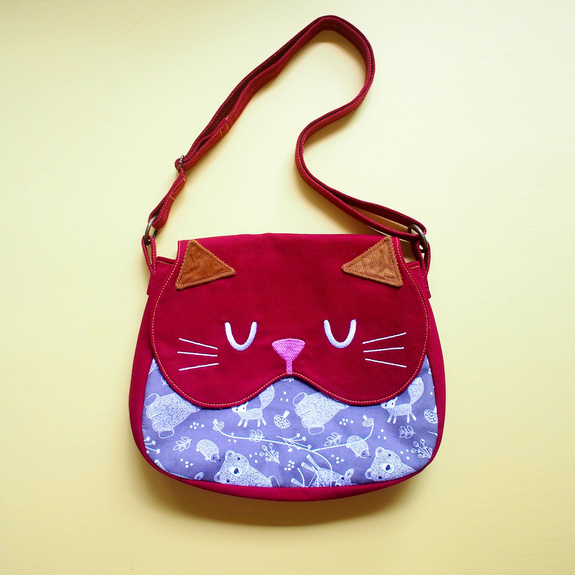 Crossbody Sling Bag - Forest Kitty Cat (Gray Forest Bear)