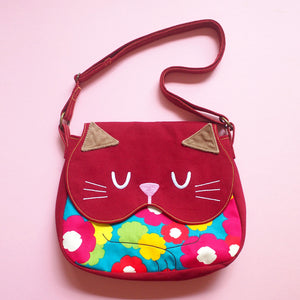 Crossbody Sling Bag - Forest Kitty Cat (Psychedelic Mungo Blooms)
