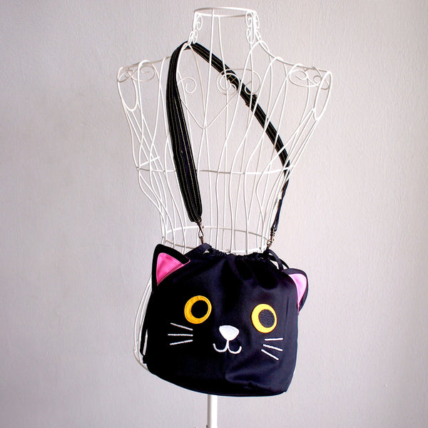Crossbody Drawstring Bucket Sling Bag - Kitty Cat (Black)