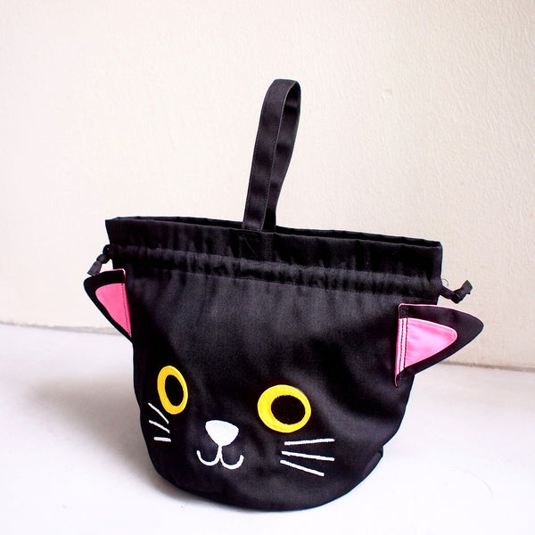 Drawstring Handcarry Bucket Purse - Kitty Cat (Black)