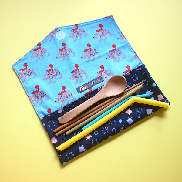 Utensils Pouch (2 Compartments) - Over The Rainbow (Squirrel On Wolf)