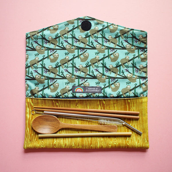 Utensils Pouch (2 Compartments) - Over The Rainbow (Forest Sloths)