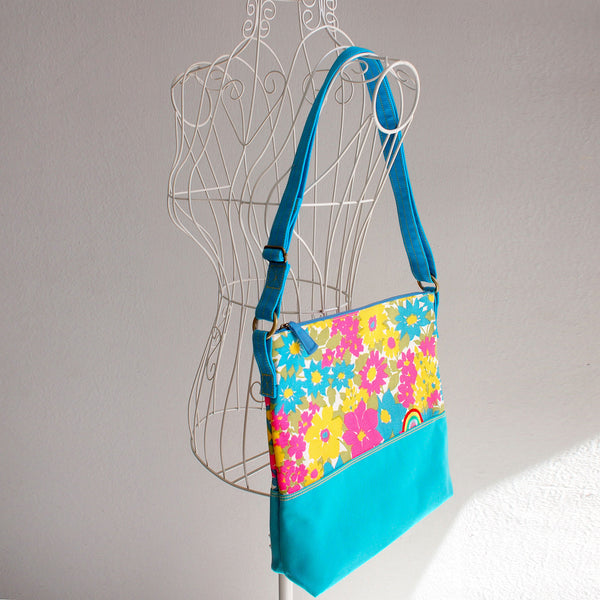 Crossbody Zip Bag - Over The Rainbow (Vintage Spring Blossoms)