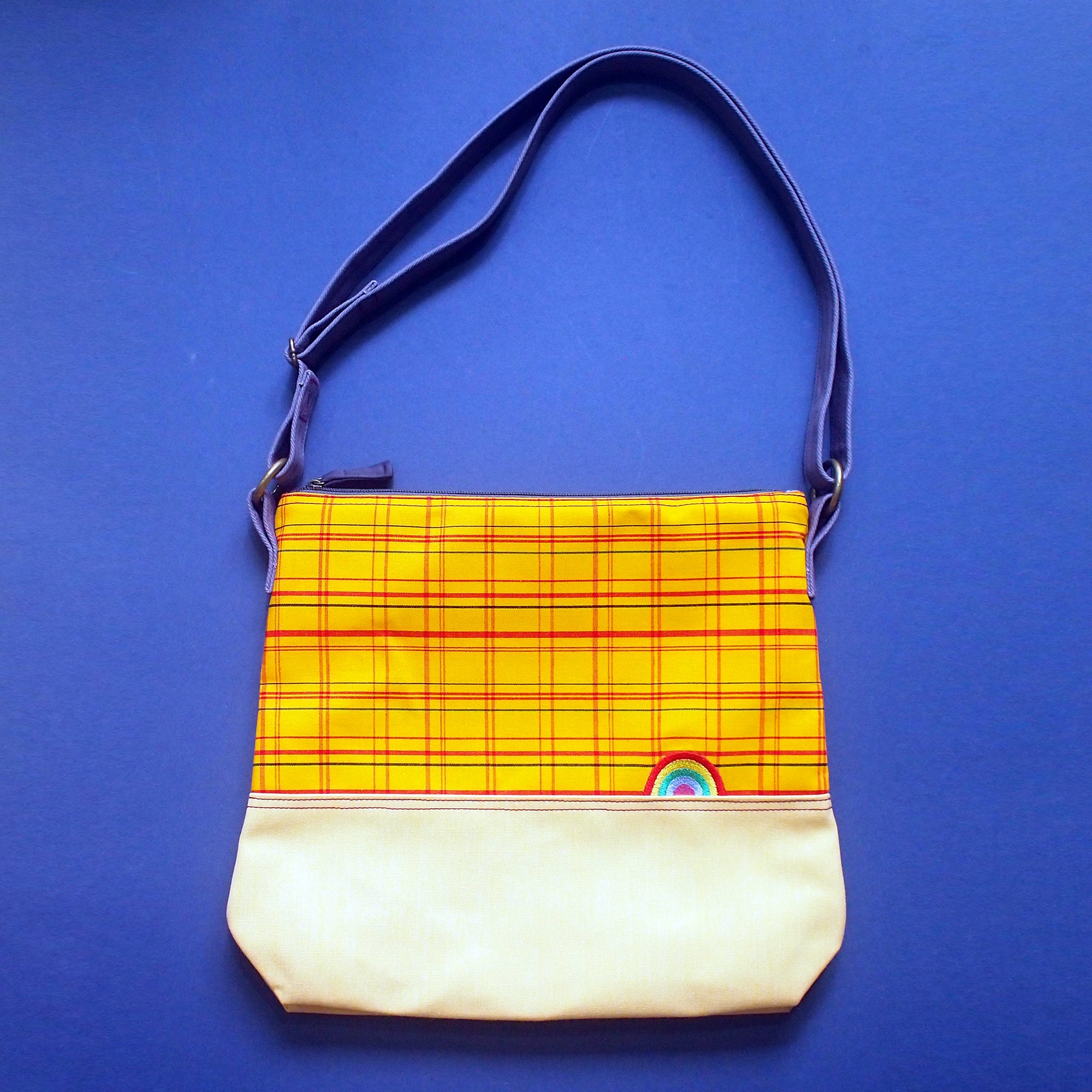 Crossbody Zip Bag - Over The Rainbow (Vintage Japanese Kimono Checks)