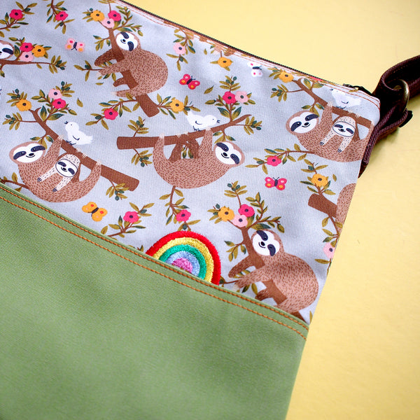 Crossbody Zip Bag - Over The Rainbow (The Slothful Sloths)