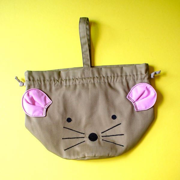 Drawstring Handcarry Bucket Purse - Little Mouse (Camel)
