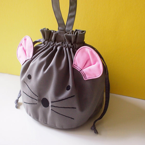 Drawstring Handcarry Bucket Purse - Little Mouse (Gray)