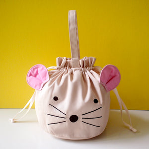 Drawstring Handcarry Bucket Purse - Little Mouse (Cream)