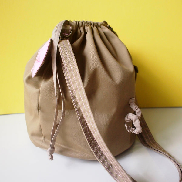 Crossbody Drawstring Bucket Sling Bag - Little Mouse (Camel)