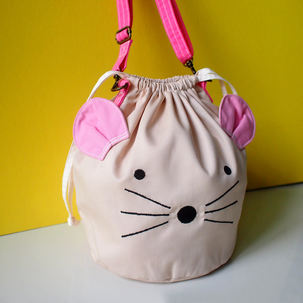 Crossbody Drawstring Bucket Sling Bag - Little Mouse (Cream)